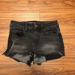 High-Rise Black Cut-Off Shorts